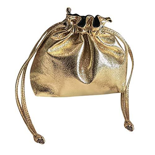 jfhrfged Damenmode Wilde Diagonale Kreuz Tasche Kette Umhängetasche Eimer Tasche Bündel Tasche Geldbörse (Gold)