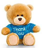Lashuma Plüschtier Bär, Pipp The Bear mit Thank You T-Shirt in Blau, Plüschbär Kuscheltier ca. 14 cm