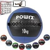 POWRX - Wall ball palla medica 2 - 10 kg + PDF workout (10 kg / Blu scuro)