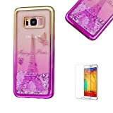 For Samsung Galaxy S8 Plus Case Cover, Funyye New Creative Floating Water Liquid Small Love Hearts Design Luxury Sparkly Lovely (Gold to Rose) Electroplate Plating Frame Crystal Design for Samsung Galaxy S8 Plus- Eiffel