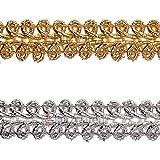 e-kurzwaren 11mm Posamentenborte 5m / 50m Lurex Band Schmuckband Gold Silber Dekoration Vorhang Deko