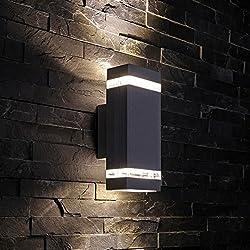 Biard - Applique Extérieure Murale LED GU10 - Double Faisceau - Design Rectangulaire Noir