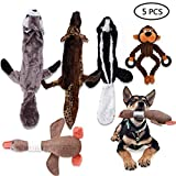 AUOKER Hundespielzeug, knitterfrei, ohne Füllung, langlebig, ohne Füllung, Plüsch, quietschend, für kleine und mittelgroße Hunde, 5 Stück