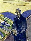 Artland Qualitätsbilder I Poster Kunstdruck Bilder 60 x 80 cm Menschen Mann Malerei Gelb D3AZ Porträt von Friedrich Nietzsche 1906