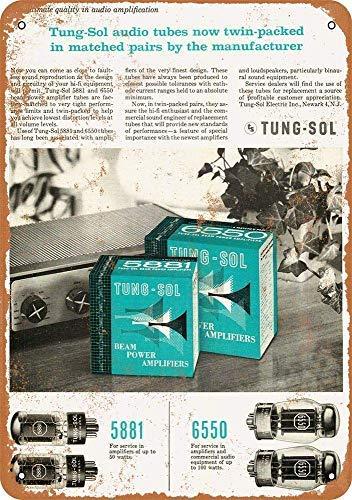 Vivityobert 1958 Tung-sol Matched Tubes - Targa da Parete in Metallo, Stile Vintage, per Garage, 20 x 30 cm
