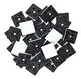 intervisio Juego Soportes Adhesivos para Bridas de Cable 19 mm x 19mm / Clips Adhesivo para las brida de plastico / Base de montaje sujetacables autoadhesivos cables / Negro / 100 Piezas
