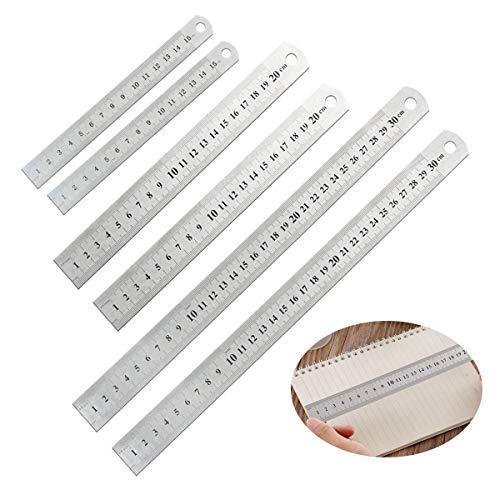 Mengger righello in acciaio inossidabile metallo 6 pezzi 15 cm + 20 cm + 30 cm scala di misurazione della bilancia precisa doppio kit per ingegneria insegnamento offi righelli