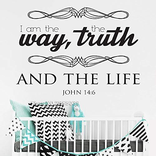 Ajcwhml Wandaufkleber zitieren Meinen Weg Wahrheit und Leben Bibel Poesie Wandkunst Wanddekoration inspirierende Tapete 42cm x 30cm -