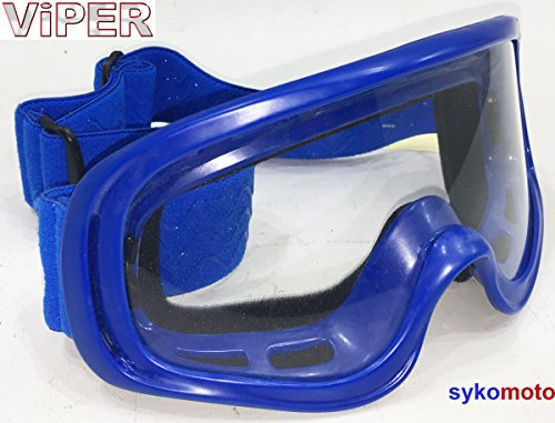 Viper Kids Race Kinder Enduro Motocross Off Road Racing Silikon Gummi Brillen Blau