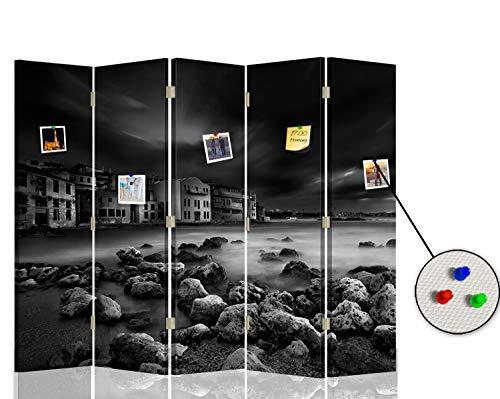 Feeby Separador con Corcho Paisaje 5 Paneles 360° Piedras Agua Cielo Negro 180x175 cm