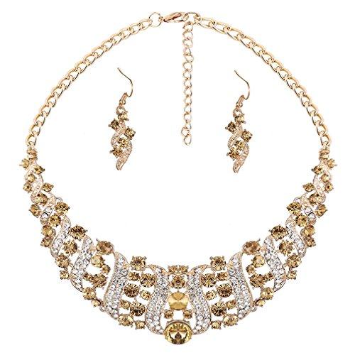 Yazilind Frauen gelb Strass-Kristall-Halskette und Ohrring-Set Statement-Kragen-Schmuck-Set