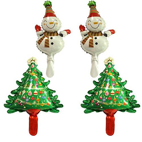 SpringPear® 2X Weihnachtsbaum + 2X Schneemann Mini Aluminiumfolienballon Aufblasbare Luftballon Deko für Weihnachten Weihnachtsdekorationen DIY Ballon Partyzubehör (4 Pcs)