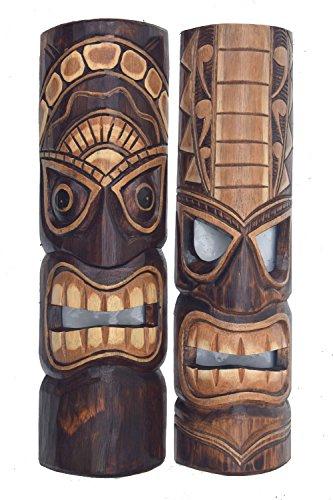 2-Tiki-Mscaras-50-cm-en-Hawaii-Style-2-unidades-Madera-Mscara-pared-Mscara-Isla-de-Pascua