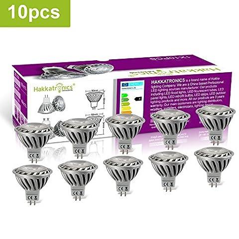 Hakkatronics 10x MR16 Ampoule LED GU5.3 Lampe Bulb 6W Lumière Blanche Chaude 3000k Économiser l'énergie 500LM Ampule Lampe AC/DC12V