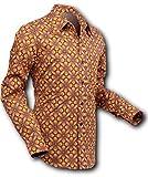 Chenaski 70er Jahre Hemd Dotsgrid Brown-Brown Größe L