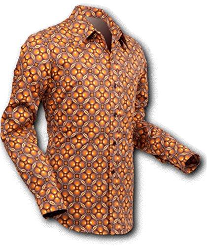 chena Esquí Camisa dotsgrid Brown de Brown, Retro Años 70 braun, creme XXL