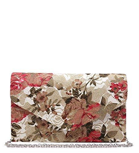 Haute für Diva S NEU Retro Vintage Satin Blumenspitze Mehrfarben Damen Braut Abend Clutchbag Portemonnaie - Rosa, Small Rosa