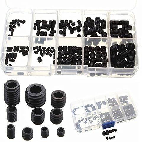 Tily 200Stück M3M4M5M6M8Allen Kopf Sockel Hex Grub Screw Set Sortiment Kit schwarz Legierung Stahl