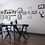 Hydz Large Size Sofa Background Decorative Painting We Are Family Letter Wall Stickers Corporate Team Culture Wall Decoration-Black and White Box + Letter Combination