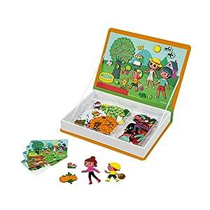 Janod- MAGNETI'BOOK 4 Estaciones Juego Magnetibook, Color Naranja (Juratoys J02721)