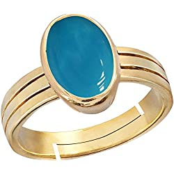 Gemorio Turquoise Firoza 6.5cts or 7.25ratti stone Panchdhatu Adjustable Ring For Men