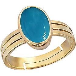 Gemorio Turquoise Firoza 6.5cts or 7.25ratti stone Panchdhatu Adjustable Ring For Men