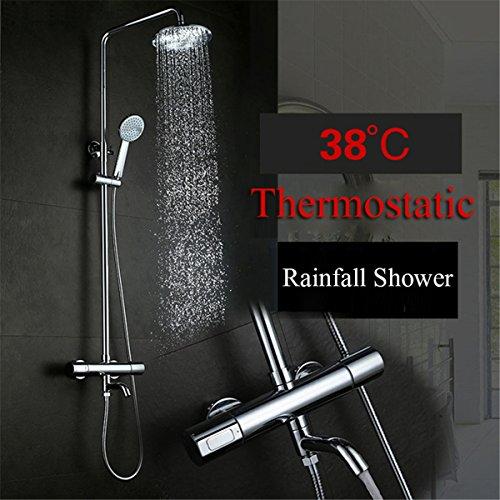 Regendusche Thermostat Badewanne Dusche Wasserhahn Regendusche Kopf Handbrause Sprayer Badezimmer Duscharmatur Set Mit Wasser Auslauf Chrom (Badewanne Dusche Wasserhahn Sprayer)