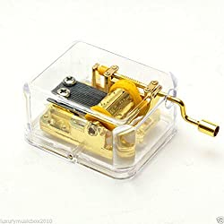 Imported Hand Crank Music Box Movement Play Romeo and Juliet - Gold
