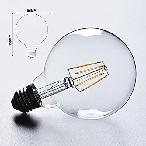 bontek® Best Home Deko Glühbirne G95Edison-Glühfaden LED Beleuchtung Leuchtmittel 4Watt ersetzt 40Watt Glühlampe–E27Sockel warmweiß–keine dimmbar