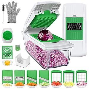 Uvistare Gemüseschneider Obstschneider kartoffelschneider, Gaoqian Mutischneider Gemüsehobel mit Messereinsätzen Handschuh zum Würfeln/Scheiben/Reiben/Hobeln/Raspeln und Eiertrennen