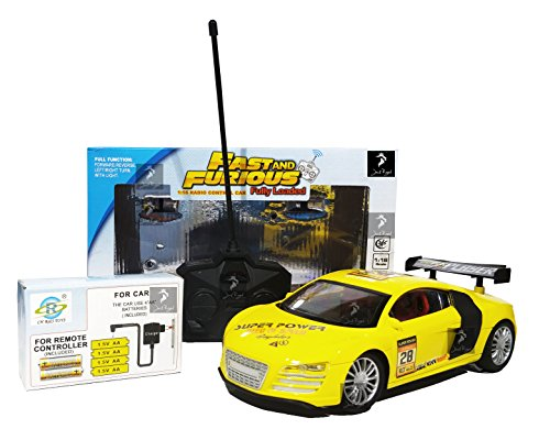 Royal Fast & Furious 1:16 Radio Control Car with 4*AA Batteries and Charger for Car (Yellow Audi)