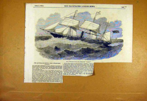 Stampa 1853 di Sydney della Nave a vapore di Royal Mail dell'Australiano