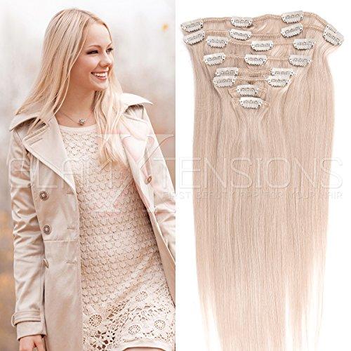 Clip in Extensions Echthaar 8 Tressen günstig Haarverlängerung Remy Human Hair Echthaar 8 Tressen 20 Clips Glatt 35cm-80g #60 Weißblond für die Haarverdichtung