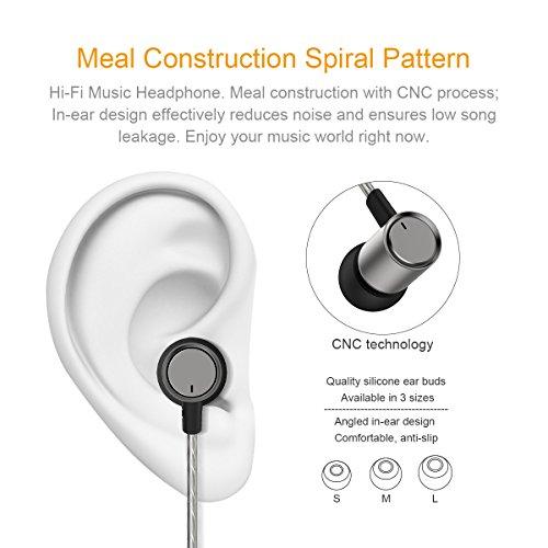 Doosl® In Ear Kopfhörer Hi-Fi Musik Kopfhörer mit 3,5 mm Stecker 16Ω Niedrige Impedanz und 108dB Hohe Empfindlichkeit -Silber - 3