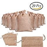 "CCINEE Drawstring Jute Gift Bags For Wedding Favour Jute Burlap Hessian Bags Pack of 20, 7.9""x10.2"""
