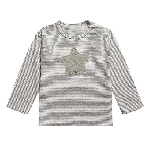 Kleinkind Langarm Denim-shirt (Tefamroe Säugling Kleinkind Kinder Baby Junge Mädchen Langarm Sternen Print T-shirt Tops Kleider (80, Grau))