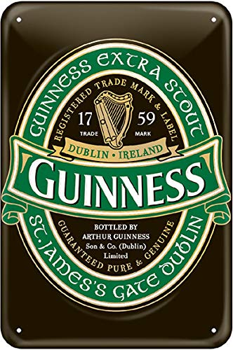Guinness Metal Sign With Iconic Ireland Label (20Cm X 30Cm) - Guinness-bier Etikett