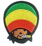 Toppe termoadesive - Reggae Stoner Weed cannabis Marijuana - colorato - 7.6x8.9cm - Patch Toppa ricamate Applicazioni Ricamata da cucire adesive