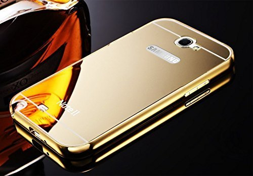 Luxury Metal Bumper + Acrylic Mirror Back Cover Case For Samsung Galaxy Note 2 Gold By Yash Enterprises  available at amazon for Rs.275