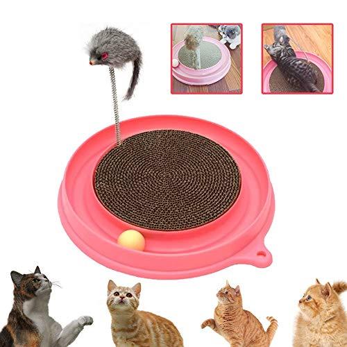 Xigeapg Katze Turbo Scratcher Spielzeug, Katze Turbo Spielzeug, Post Pad Interaktives Training übung Maus Spielzeug Mit Turbo Und Ball Rosa (Katze Spielzeug Turbo Scratcher)