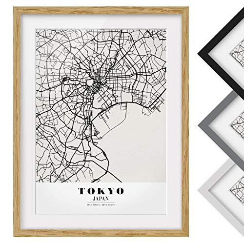 Bilderwelten Póster Enmarcado - Tokyo City Map - Classic - Marco Madera de encina 70 x 50 cm
