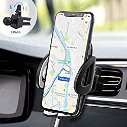 IZUKU Support Telephone Voiture Ventilation Rotation 360° Universel [Garantie à Vie] pour iPhone X/S/Max/ 8/7/ 6S, Samsung Galaxy S8/ S7/ A5/ Note8, Smartphone et GPS Appareils.