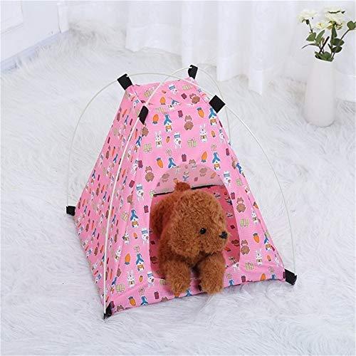LiYue-Pet Bed Gedruckte wasserdichte Oxford-Tuch-Katzen-Hundehütte Faltbare tragbare Zelt-Haustier-Nest-Sonnencreme im Freien Faltbare einfach zu speichern Heimtierbedarf (Color : Pink)