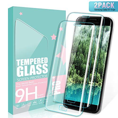 SGIN Galaxy S7 Edge Panzerglas Schutzfolie, [2 Stück] Gehärtetem Glas HD Displayschutzfolie, Anti-Kratzer, Anti-Fingerabdrücke, Blasenfrei, 9H Härtegrad, für Samsung Galaxy S7 Edge - Transparent