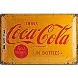 Nostalgic-Art 24007 Coca-Cola - Yellow Logo | Retro Blechschild | Vintage-Schild | Wand-Dekoration | Metall | 40x60 cm
