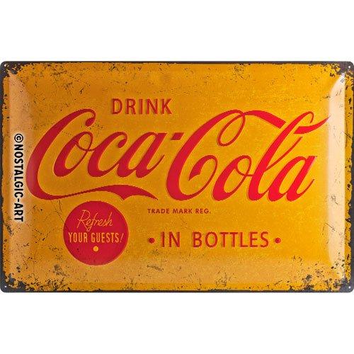 Nostalgic-Art 24007 Coca-Cola - Yellow Logo | Retro Blechschild | Vintage-Schild | Wand-Dekoration | Metall | 40x60 cm (Vanilla Sprite)