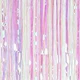 SUNBEAUTY Big 3ft x 8ft Fringe Foil Curtain Pastel Party Tinsel Backdrop Birthday Wedding Decoration (Rainbow)