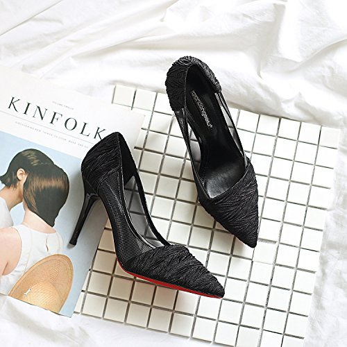 Alta sandali con tacco sottile e leggera per l'Uganda scarpe donna e versatile punta cava singola scarpeBlack