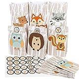 """Aparty4u 24pz sacchetto di favore del partito del bosco, sacchetti di carta regalo di caramelle per gli animali del bosco tema festa di compleanno forniture (6 stile, 8,6""""x 4,7"""" x 3,2"""")"""