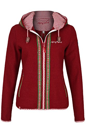 Damen h.moser Salzburg Damen Trachtenjacke mit Kapuze rot, Rot, 38